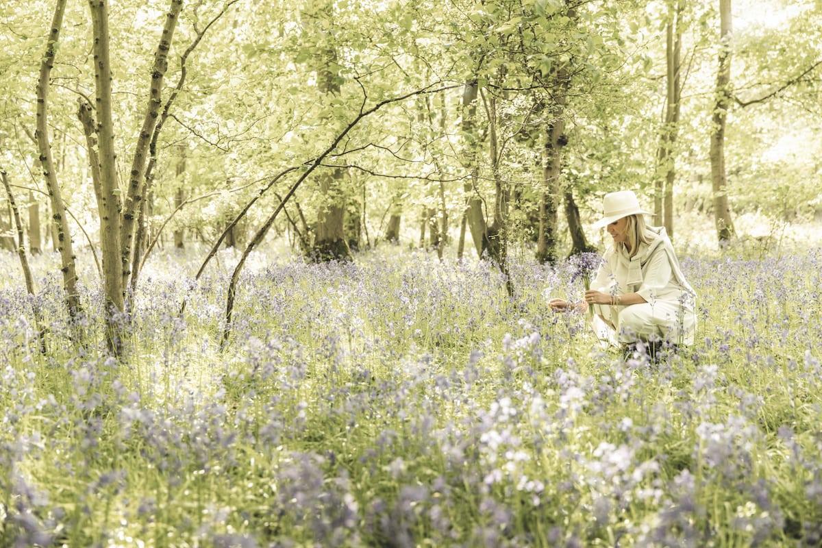 Lady Carole Bamford picking bluebells