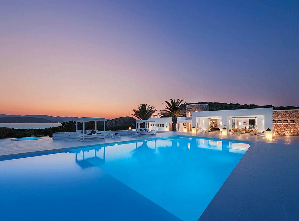 A pool view of Illa de Tagomago on Ibiza