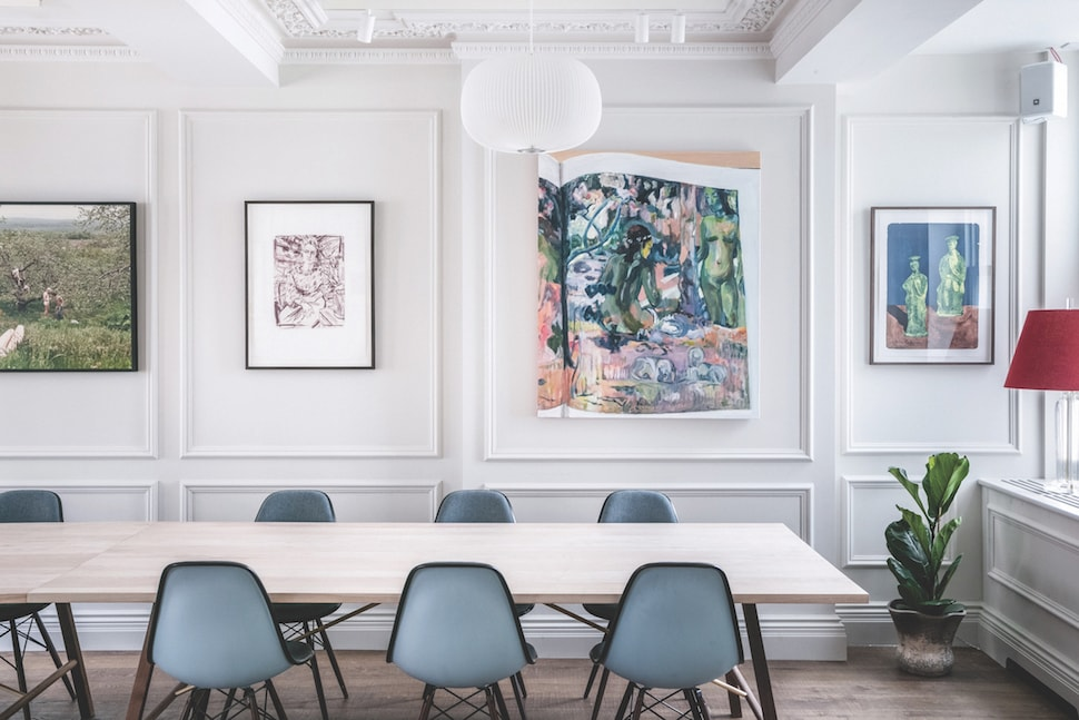 Bright walls and colourful art at AllBright Mayfair private members' club