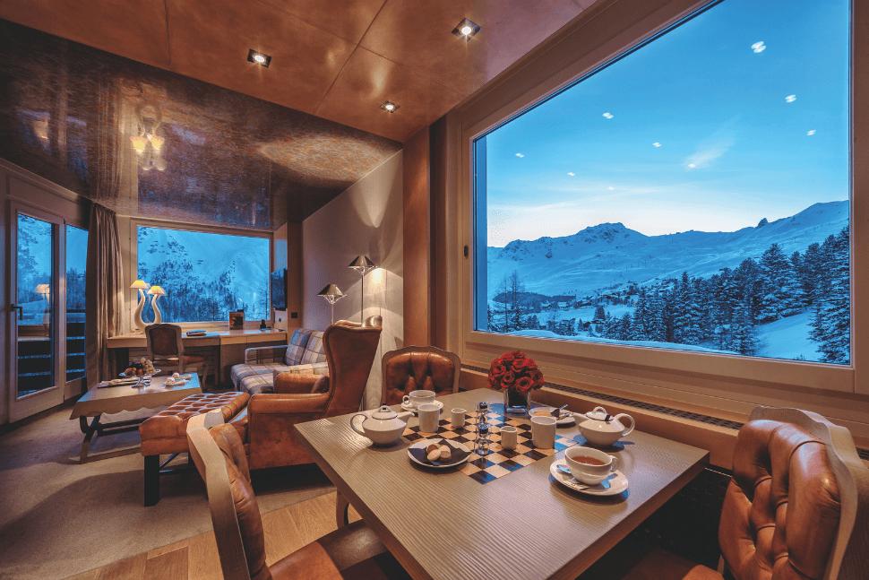 A junior suite at Tschuggen Grand in Arosa, Austria