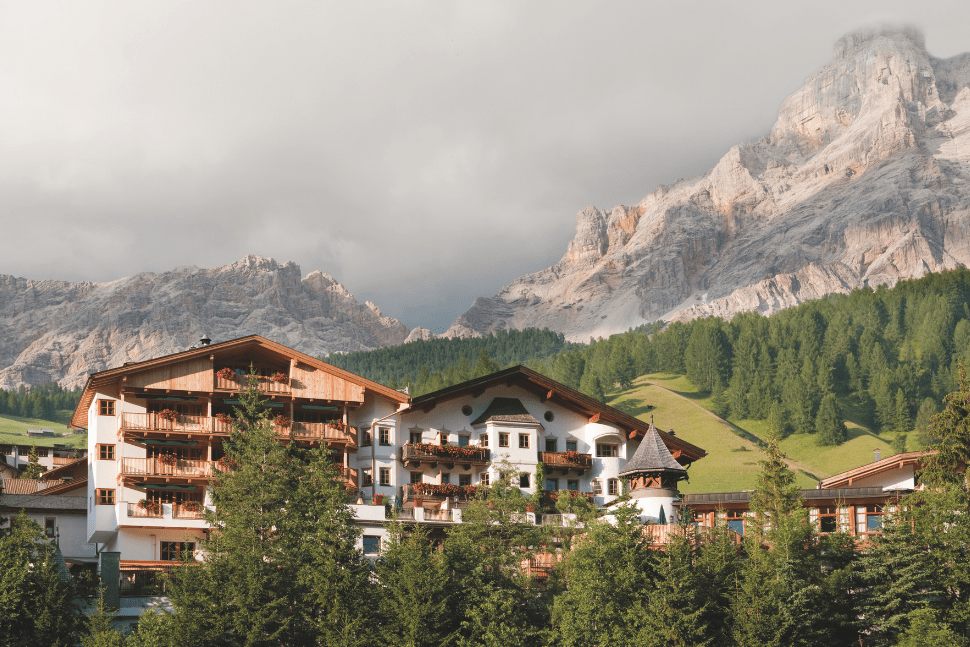 A view of the Rosa Alpina Hotel & Spa in San Cassiano, Italy