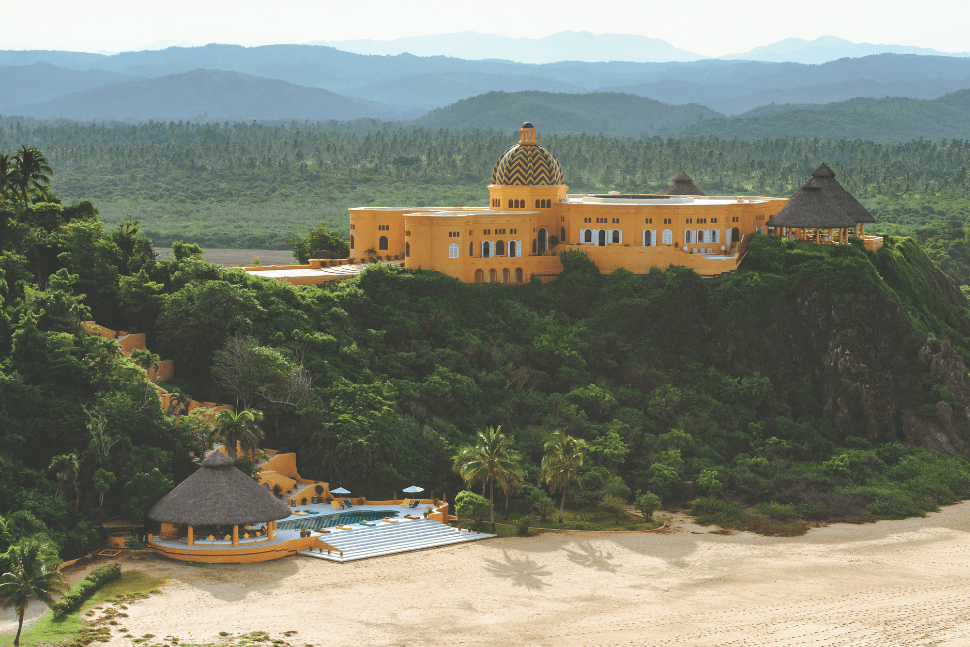 A view of the exterior of Cuixmala in Jalisco Mexico
