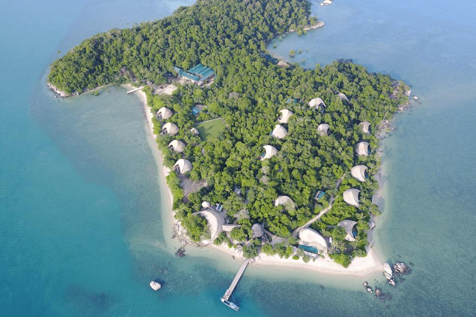 Aerial view of Cempedak Island, Indonesia