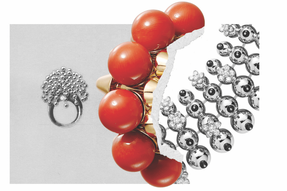 An earring from the Clash de Cartier collection pictured with archive designs