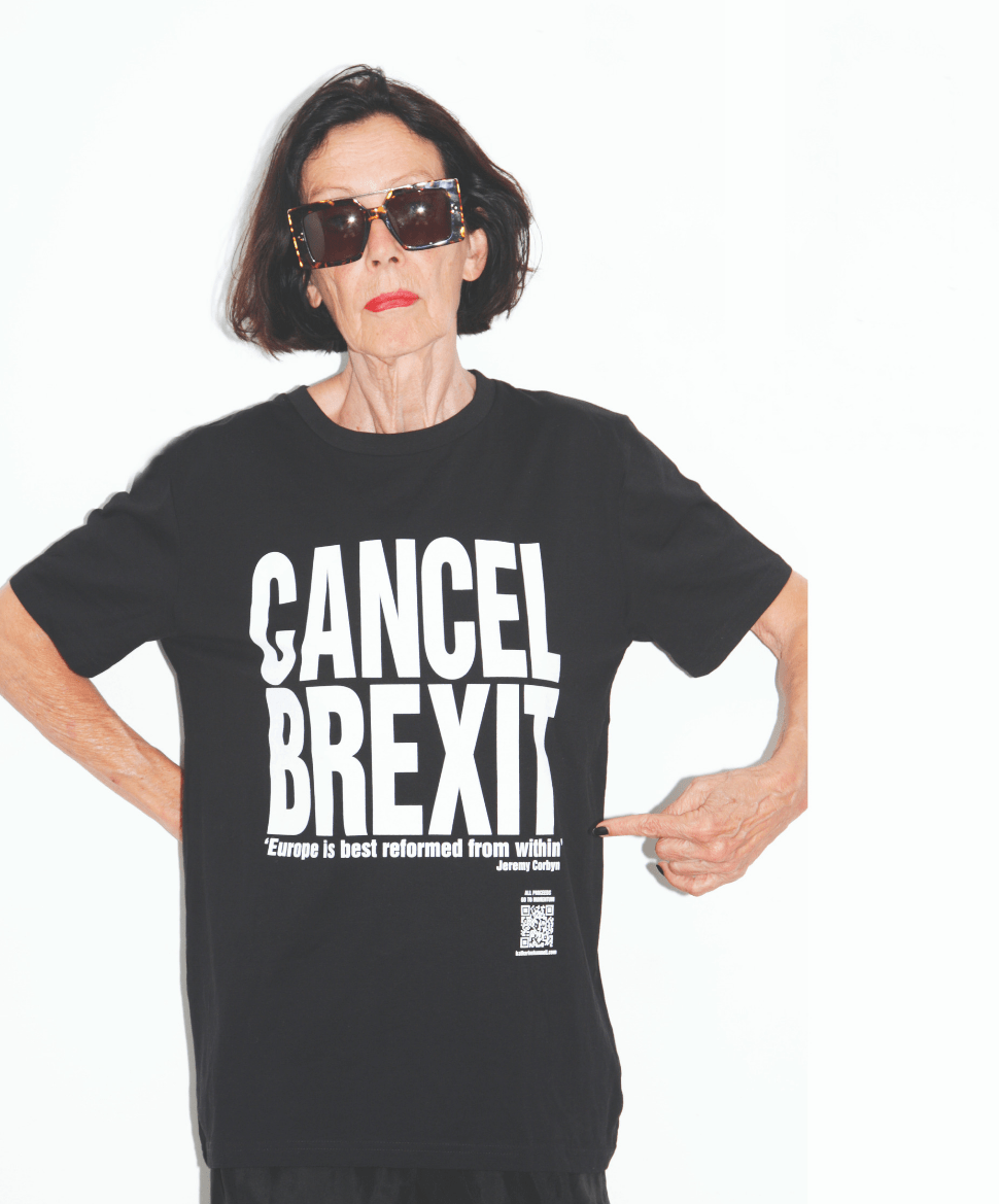 Katherine Hamnett wears her cancel Brexit T-shirt