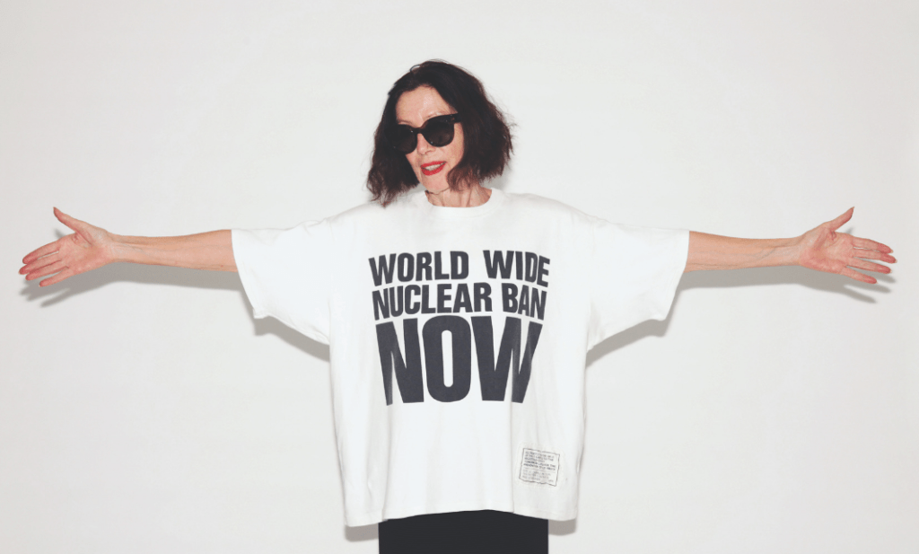 Katherine Hamnett wears her world wide nuclear ban now T-shirt
