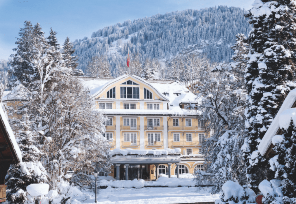 Le Grand Bellevue hotel covered in snow