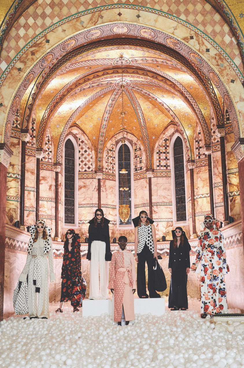 The SS19 collection debuts in one of Powney's favourite hidden gems, the Fitzrovia Chapel in London
