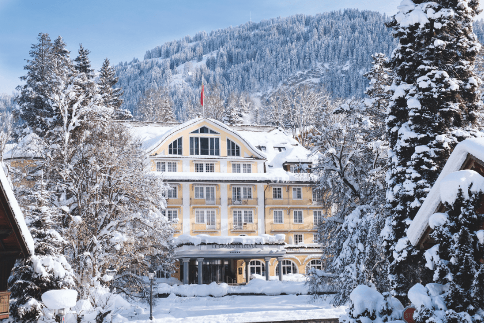 The exterior of Le Grand Bellevue in Gstaad, Switzerland