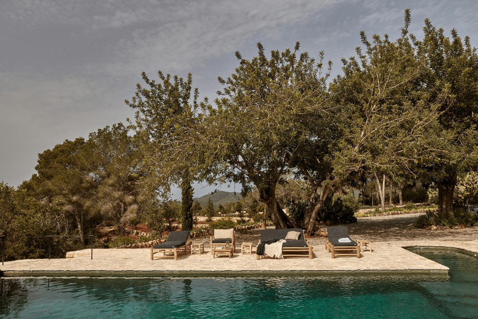 The pool at La Granja in Ibiza