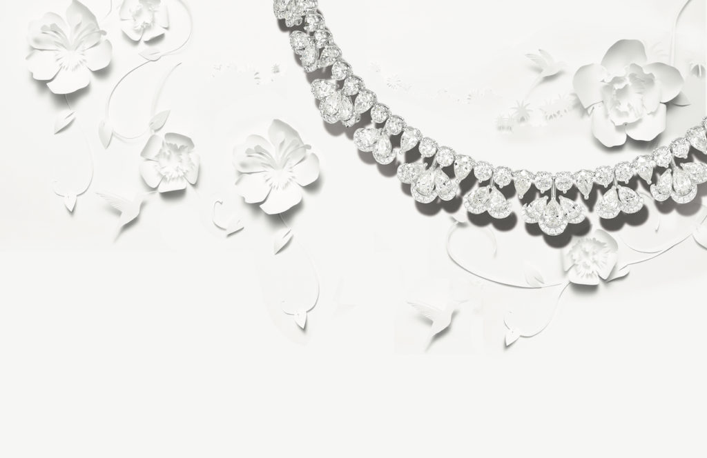 Chopard diamond necklace on white floral background