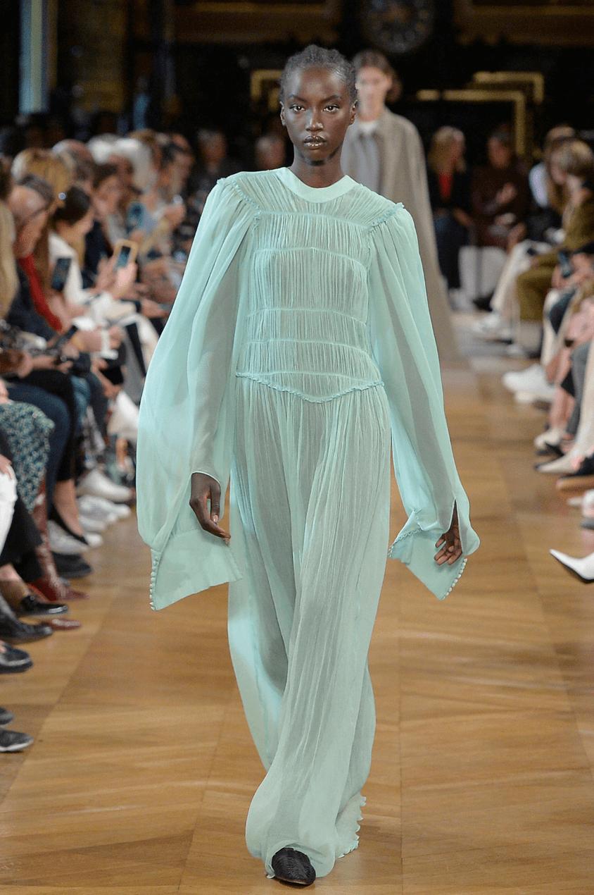 Model wears Stella McCartney Cezama Dress on the runway SS19