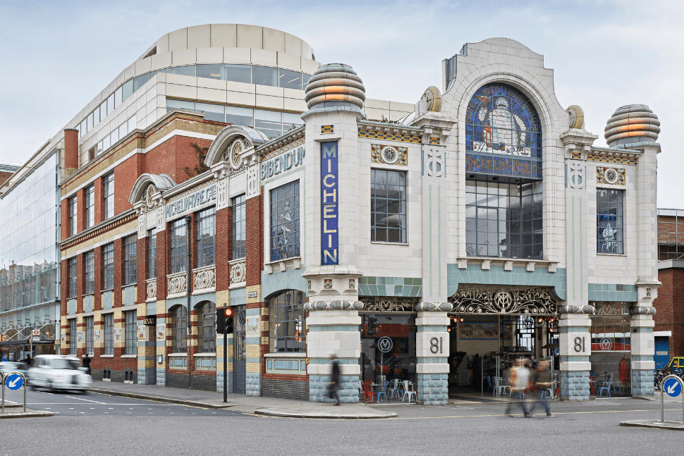 The exterior of the Michelin building in Chelsea, London where Bibendum restaurant is situated