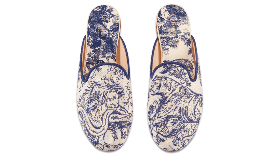 Dior off mule in embroidered cotton blue