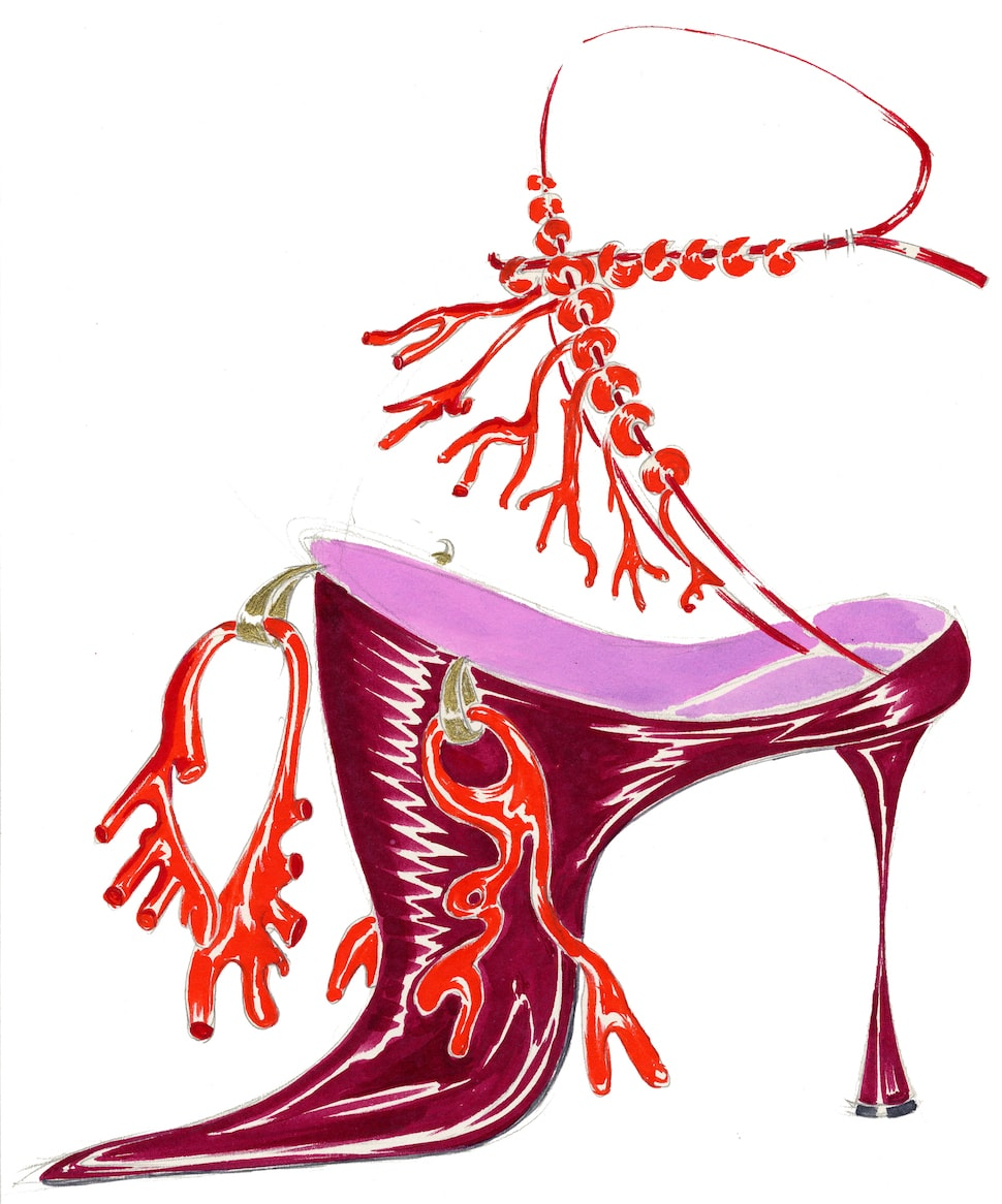 Illustration of red shoe with coral embellishment by Manolo Blahnik