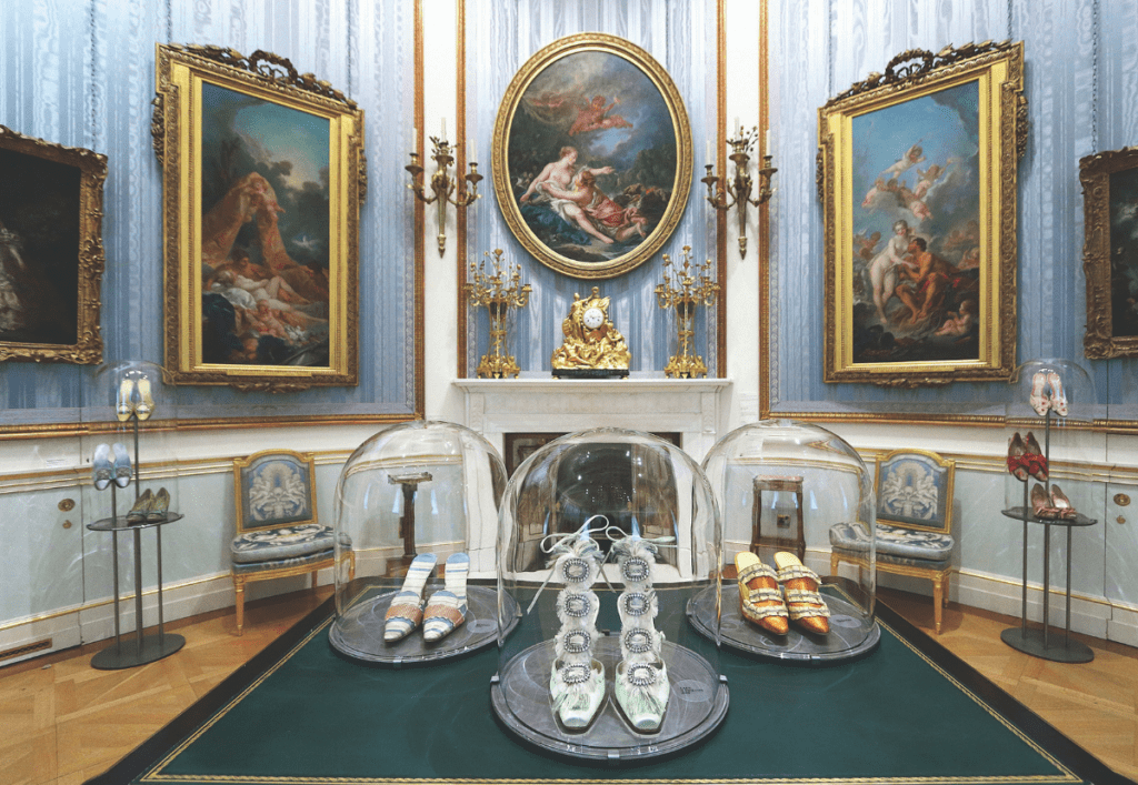 Manolo Blahnik shoes on display at the Wallace Collection
