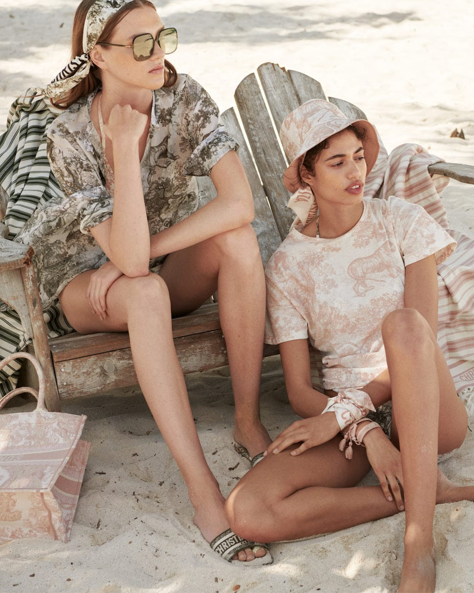 Models wear Toile du Jouy clothing and accessories from the Dioriviera collection