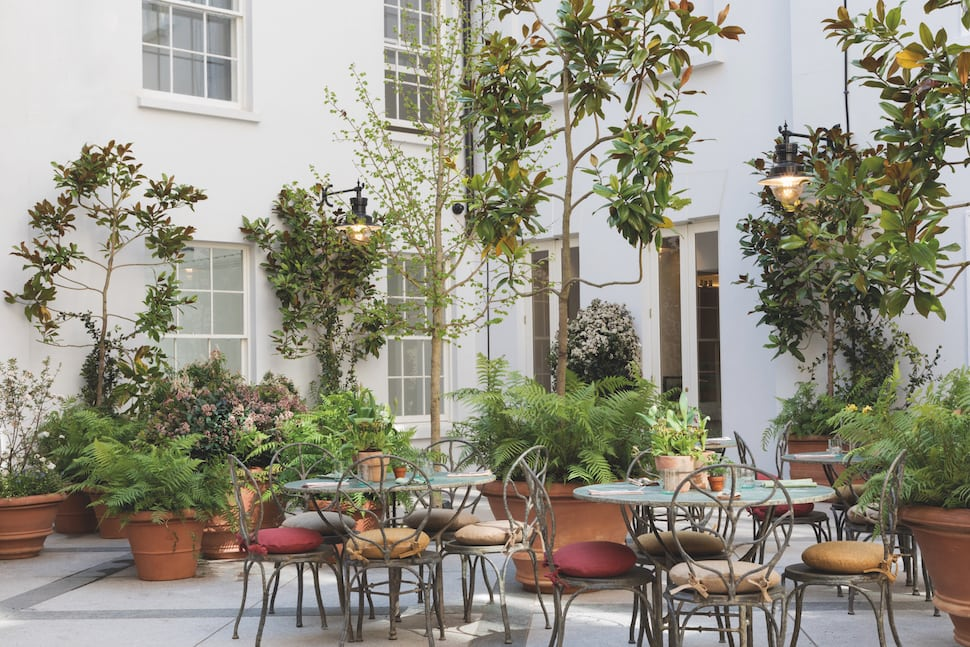 The outdoor dining area at The Petersham restaurant in Covent Garden