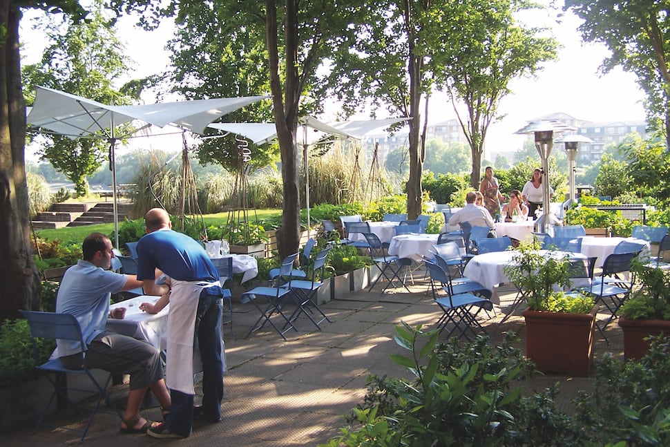 The terrace at the River Cafe in Hammersmith London