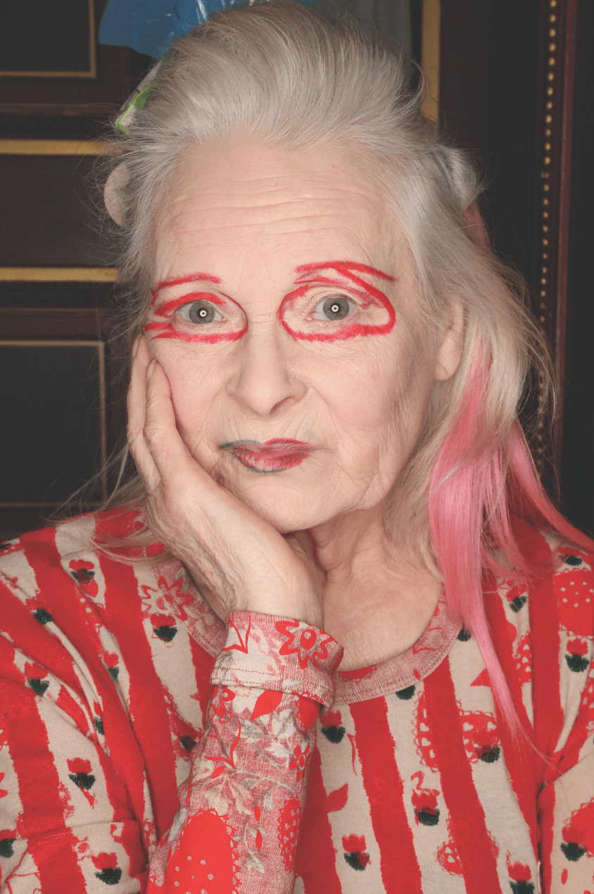 Vivienne Westwood wears red eye make-up backstage