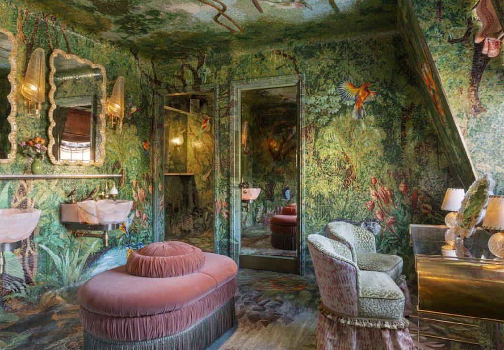Inside Annabel's rainforest and jungle-themed bathroom designed by Annabel's bathroom designed by Martin Brudnizki Design Studio