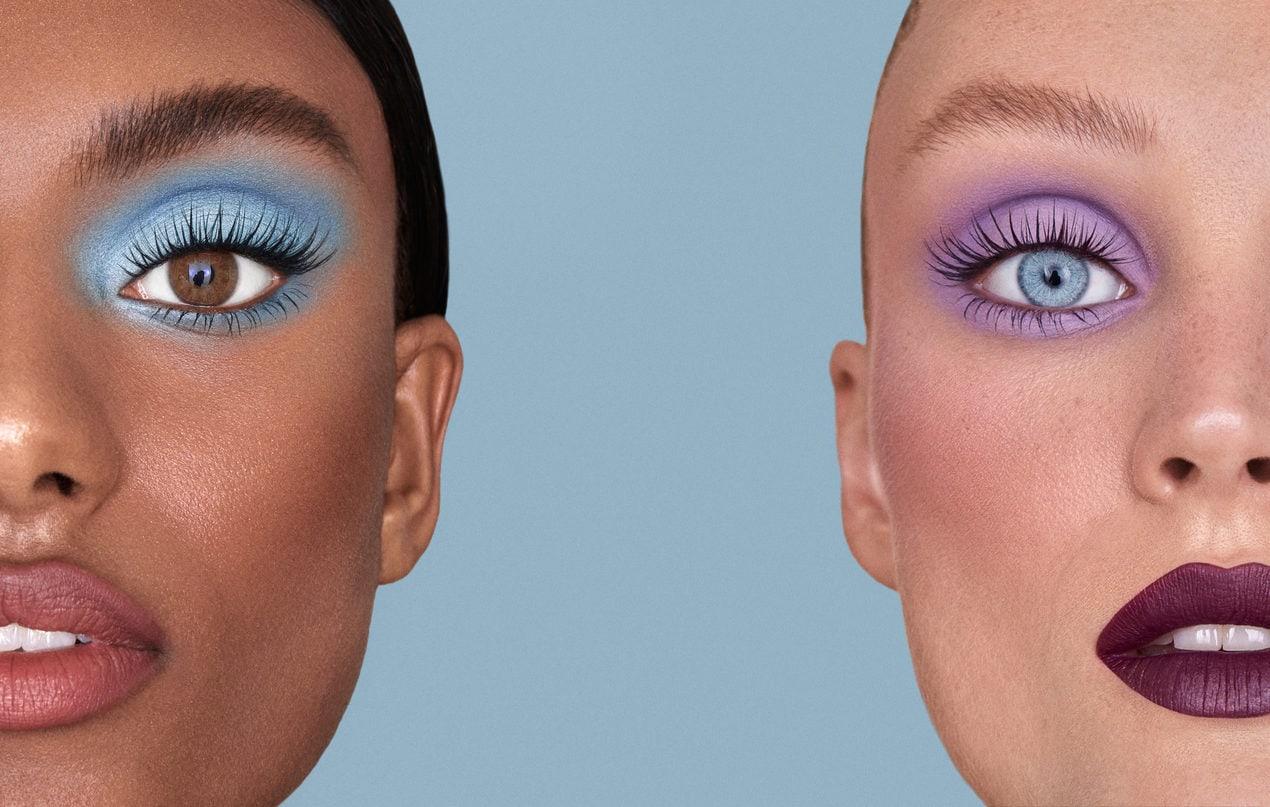Models wear colourful eye make-up featuring Nikki Wolff x Sweed-Lashes false eyelashes