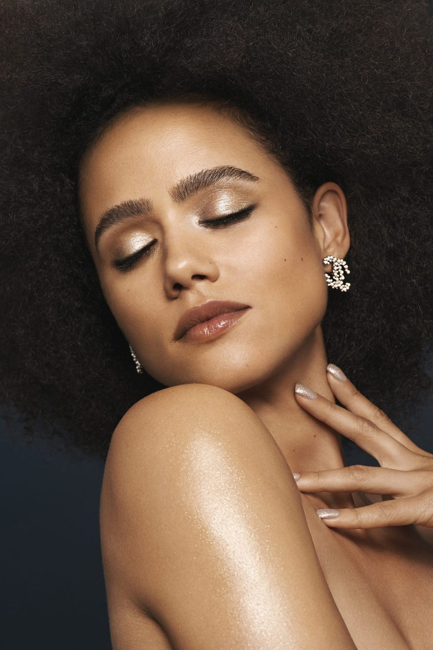 Nathalie Emmanuel models the Bronze Metallics look from Chanel AW19 beauty collection