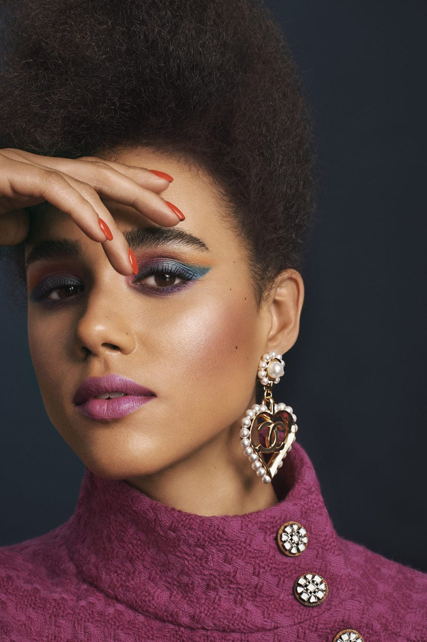 Nathalie Emmanuel models the Eighties Eyes look from Chanel AW19 beauty collection