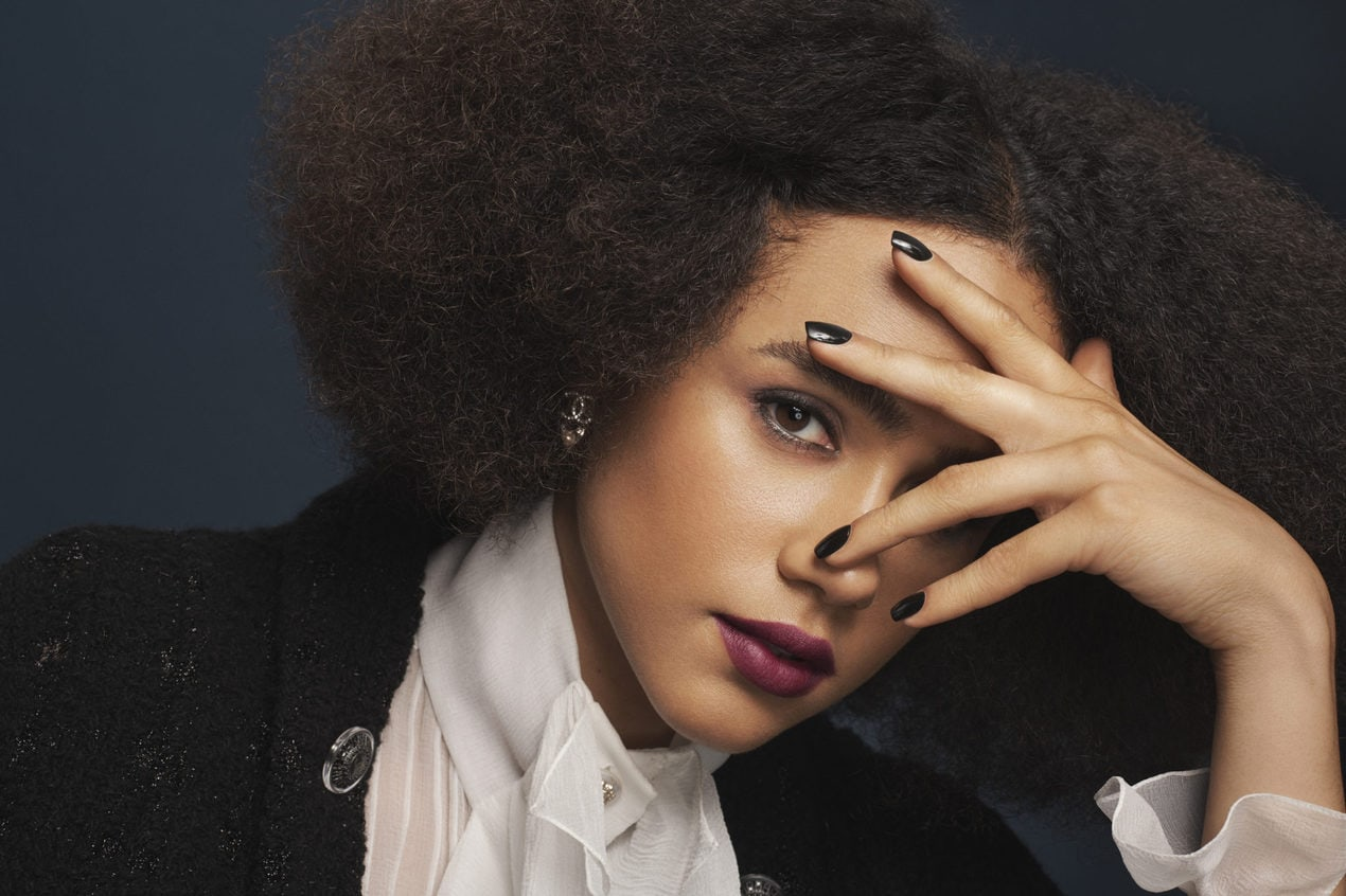 Nathalie Emmanuel models the Gothic Romance look from Chanel AW19 beauty collection