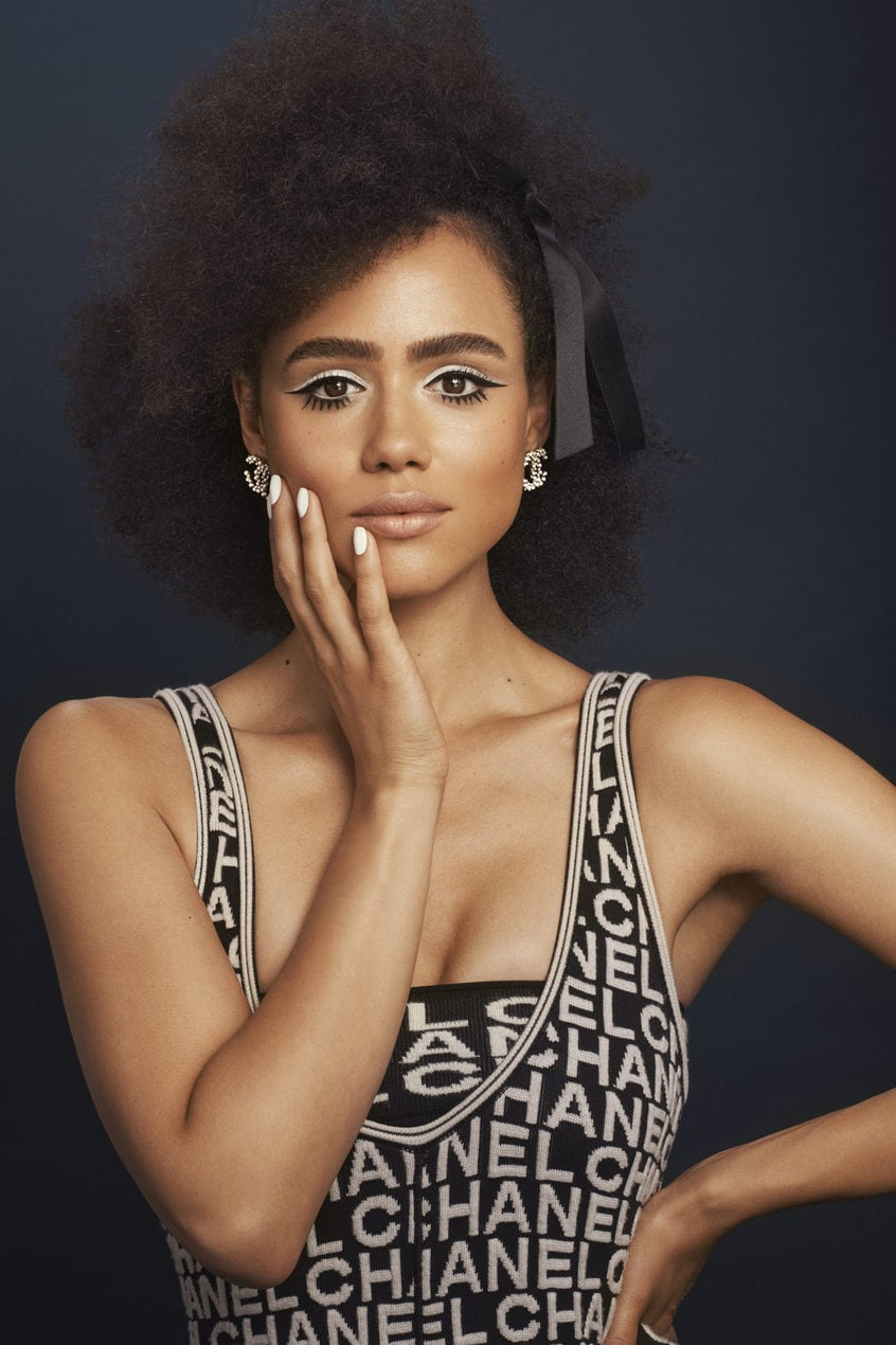 Nathalie Emmanuel models the Sixities Monochrome look from Chanel AW19 collection