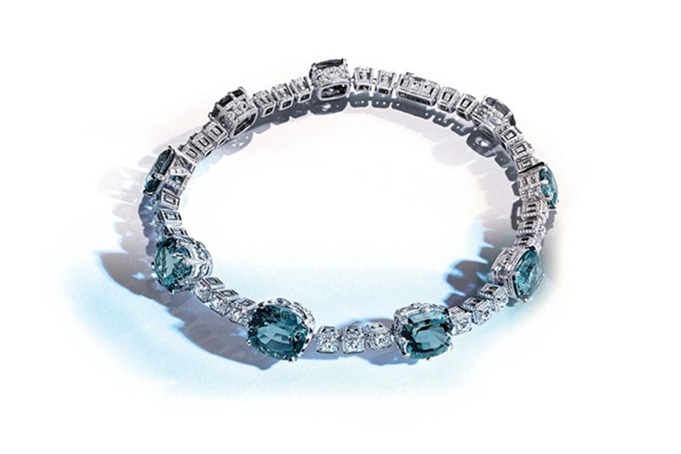 Louis Vuitton 18ct white gold, platinum, aquamarine and diamond La Reine necklace