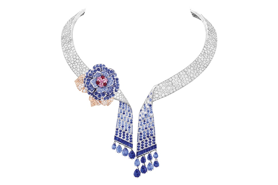 Van Cleef & Arpels Rose Montague Necklace, diamonds sapphires and rubies set in white and rose gold