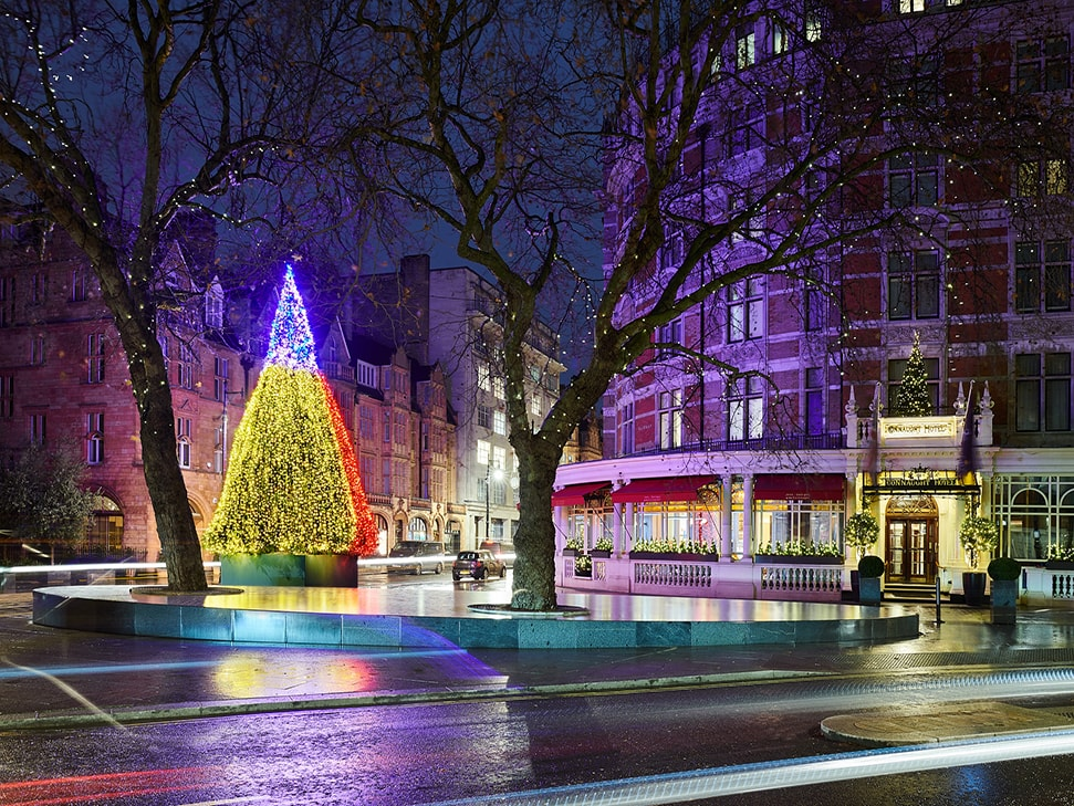 The Connaught Christmas Tree 2019 by artist Sean Scully lights up Mount Street