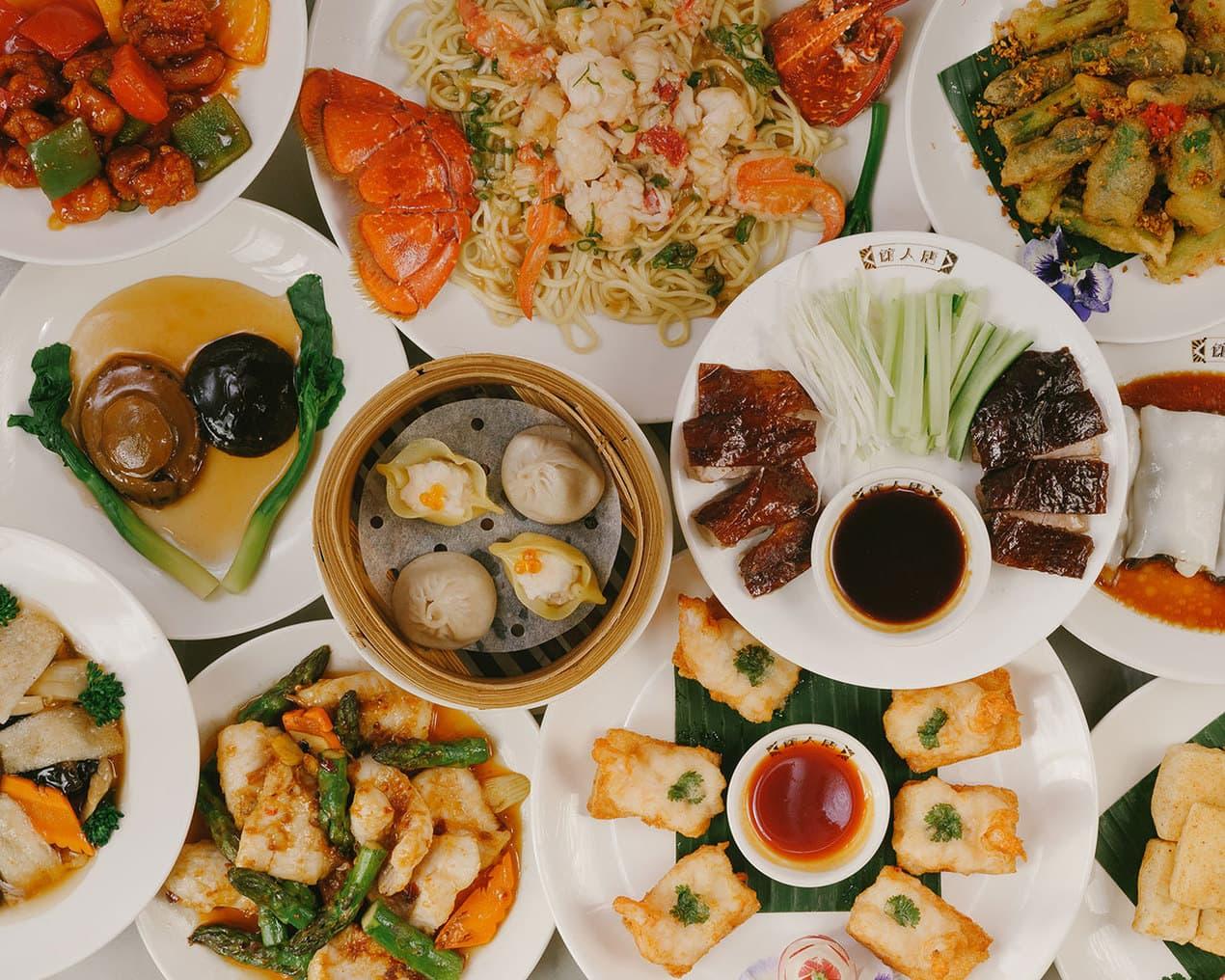 Chinese food at China Tang, shot from above
