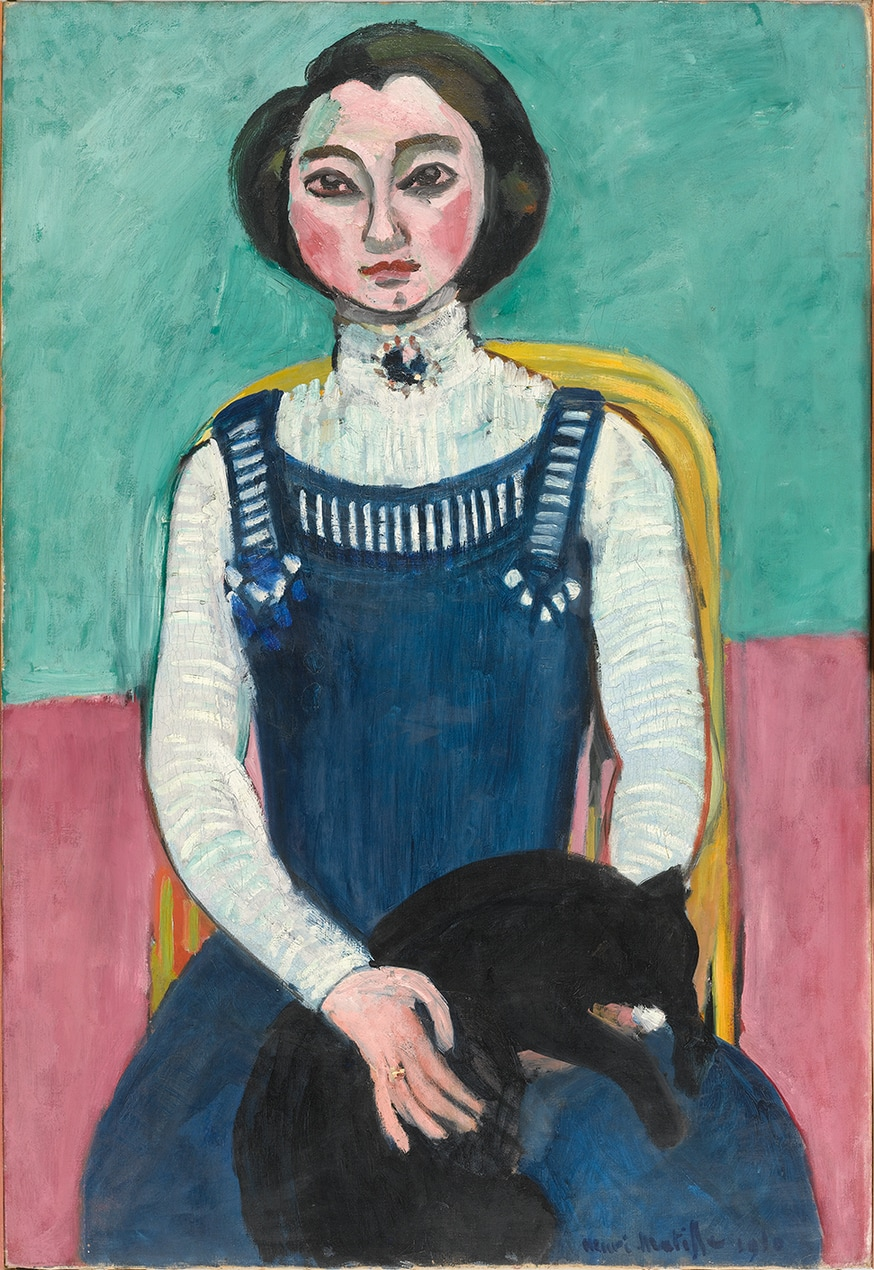 Henri Matisse, Marguerite au chat noir, début 1910, huile sur toile, 94 × 64 cm, © Succession H