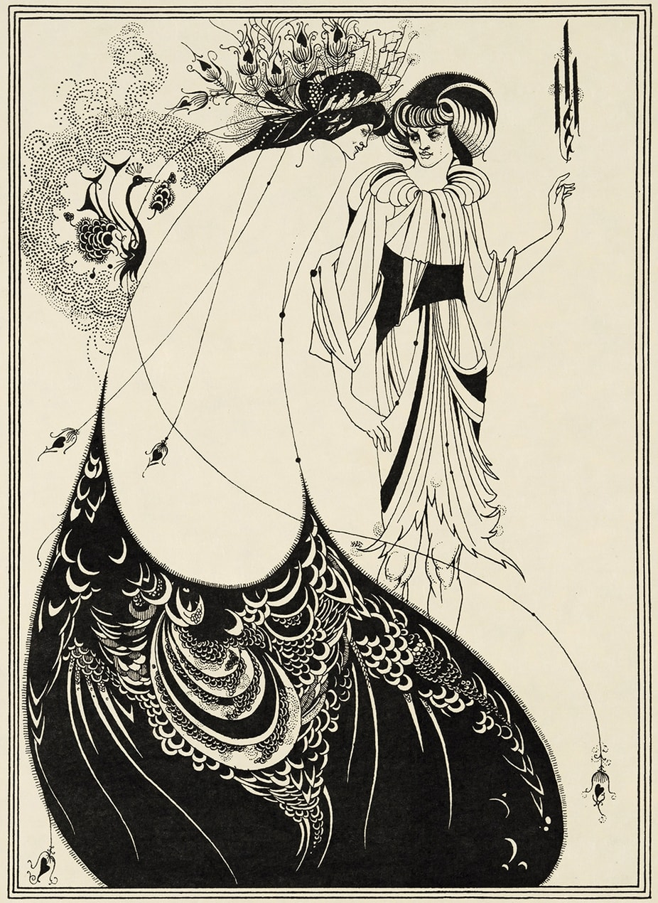 Aubrey Beardsley (1872-1898), Illustration for Oscar Wilde's Salome 1893The Peacock Skirt, Line block print on paperStephen Calloway Photo: © Tate