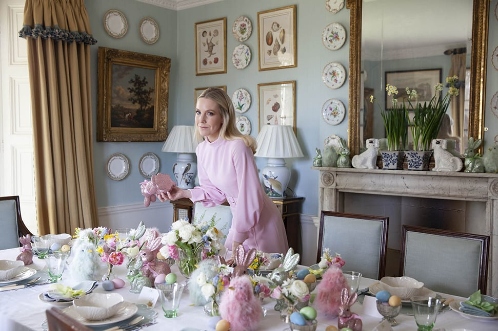 Alice Naylor-Leyland laying her Easter table at home at Stibbington