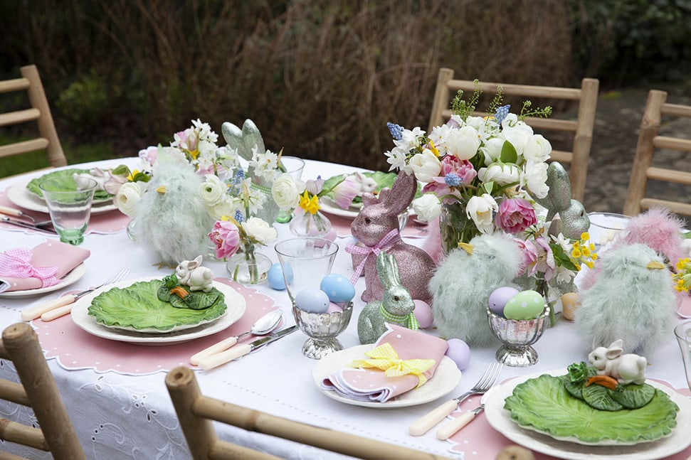 Alice Naylor-Leyland's Easter table setting with rabbits and fluffy chicks