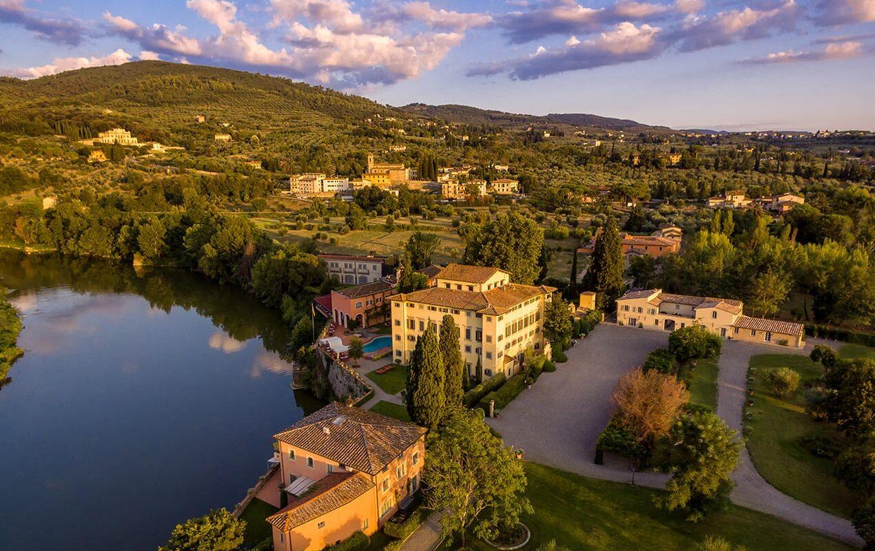 Villa La Massa drone overview
