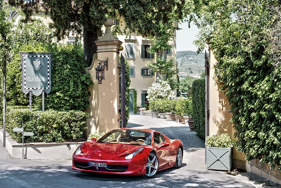 Villa La Massa entrance with ferrari