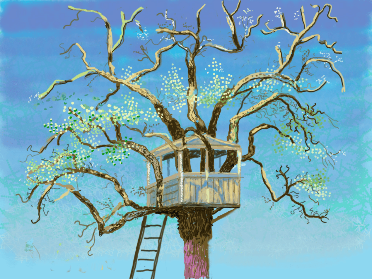 David Hockney iPad painting of a treehouse in Normandy