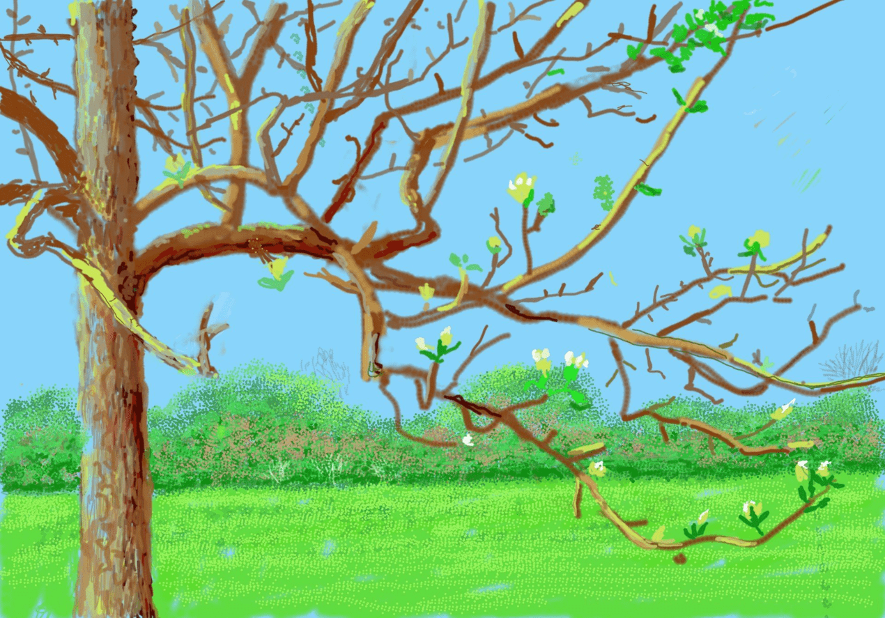 David Hockney Ipad painting of a tree closeup during spring