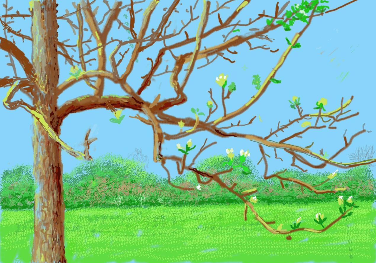 David Hockney Ipad painting of a tree closeup during spring