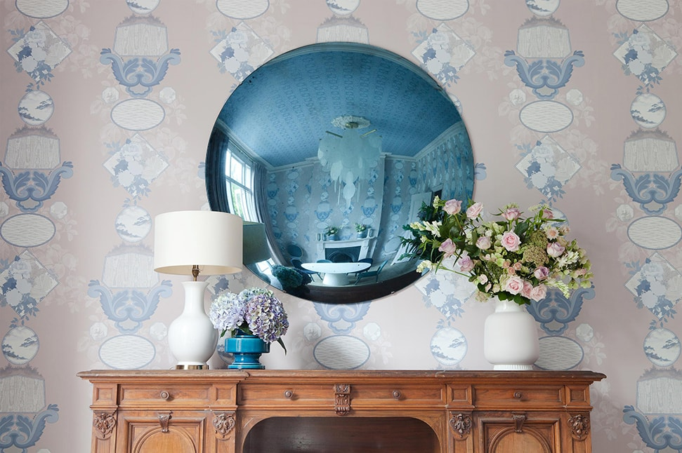 Patterned wallpaper in a sitting room, a key element of 2LG's designs