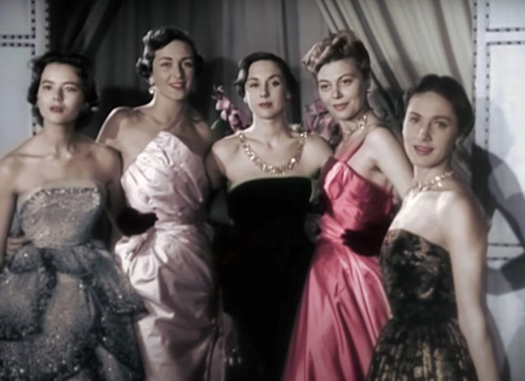 Models wearing Dior gowns