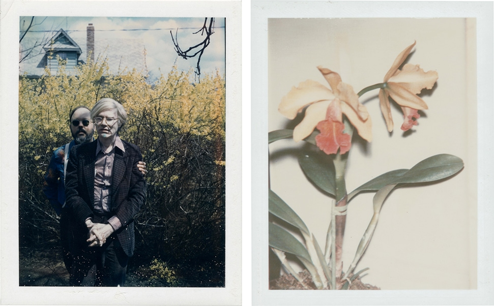 A self-portrait photograph of the artist Andy Warhol with Henry Geldzahler, and one of his photos of flowers