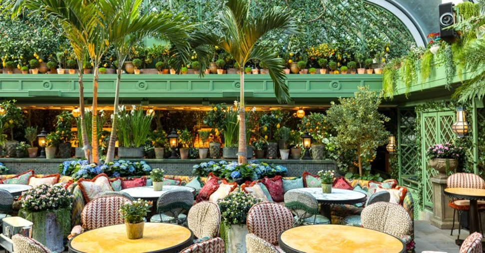 The courtyard restaurant at Annabel's members club in London