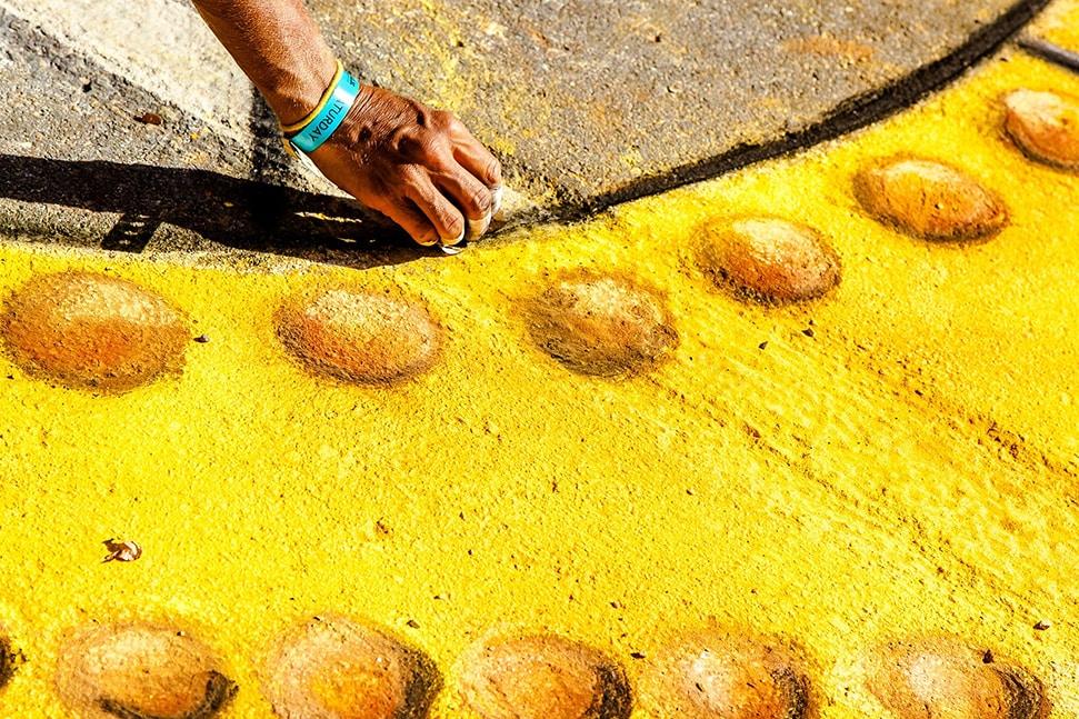 An artist creates eco-art for Earth Day 2020