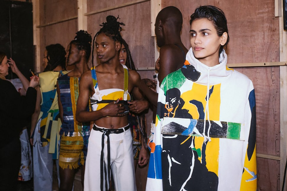 Models line up for Bethany Williams' A/W20 fashion show