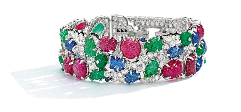 A Tutti Frutti gem-set bracelet by Cartier, which has just become the most expensive jewel ever sold at an online auction